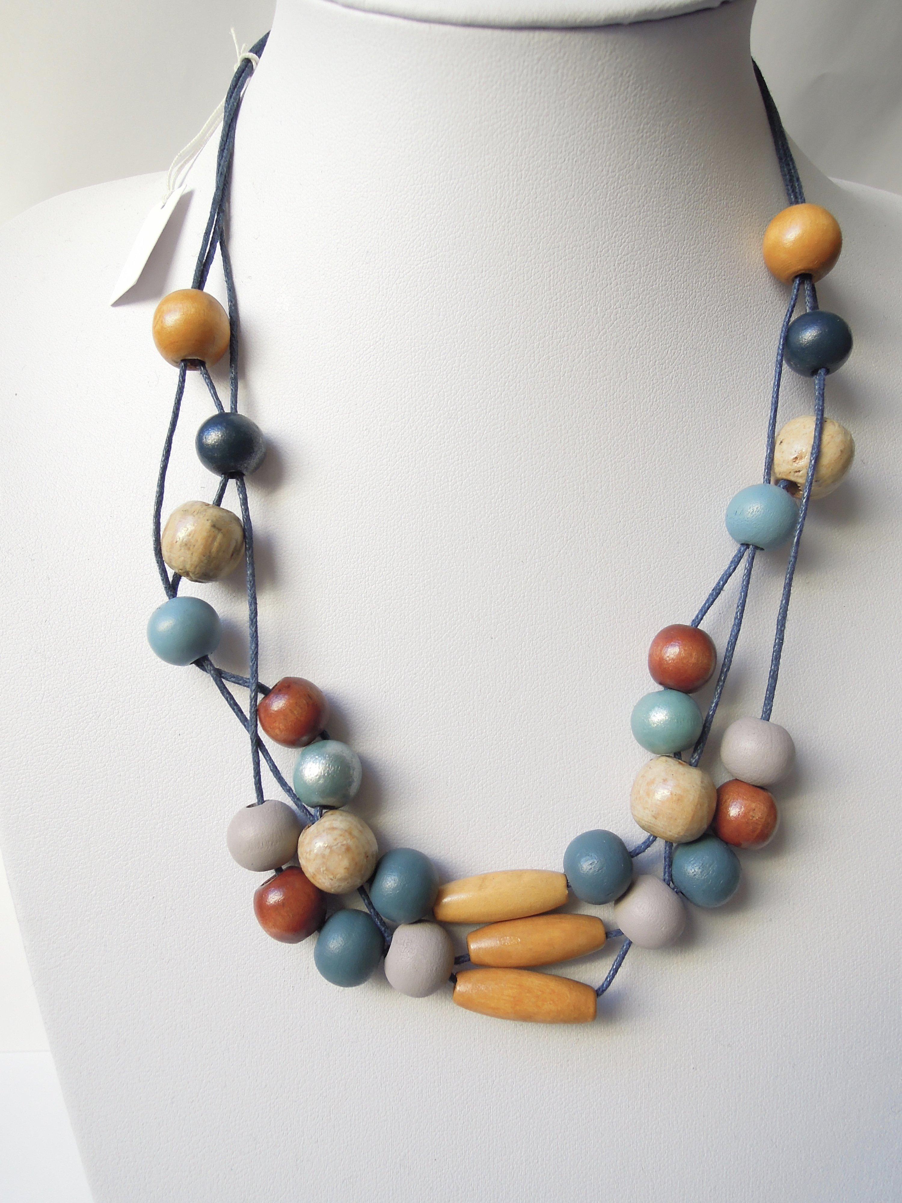 Wonderbaarlijk Ketting gemaakt op waxkoord met houten kralen in diverse kleuren AF-42
